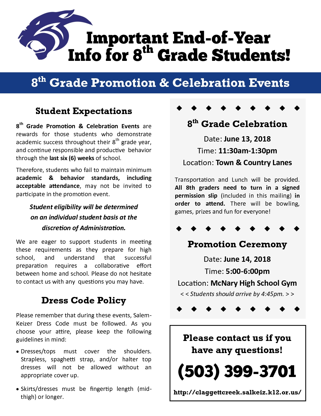 End of Year Info for 8th Grade - Claggett Creek Middle School